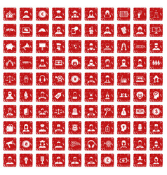 100 headhunter icons set grunge red vector
