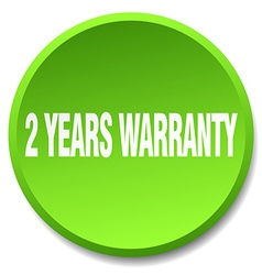 2 years warranty green round flat isolated push vector image