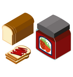 3d design for strawberry jam and bread vector image