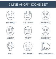 9 angry icons vector