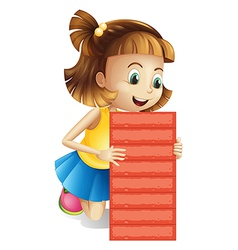 A girl holding an empty red board vector image