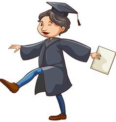 A happy man graduating vector image