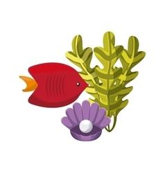 Algae fish and shell icon Sea life design vector