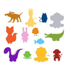 baby silhouette animals vector image