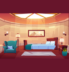 bedroom in castle or palace empty sunny apartment vector image