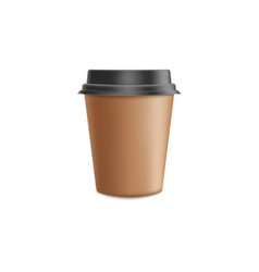 brown craft paper coffee cup mockup in 3d vector image