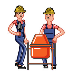 Builders crew knead concrete vector
