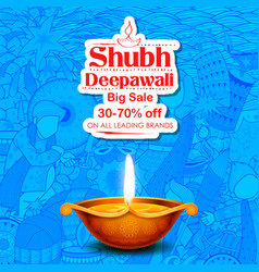Burning diya on shubh deepawali meaning happy vector