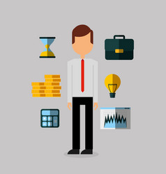 Businessperson with financial icons vector