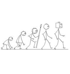 cartoon of human evolution process progress vector image