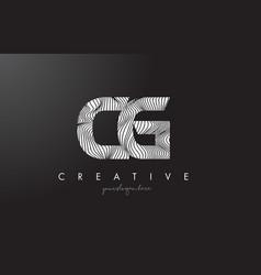 Cg c g letter logo with zebra lines texture vector