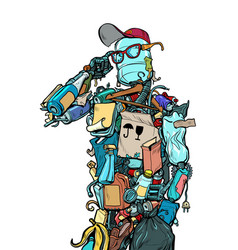 Character garbage man landfills dump ecology vector