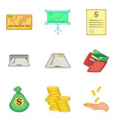 Cheap loan icons set cartoon style vector