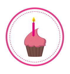 Color circular frame with cupcake and candle vector