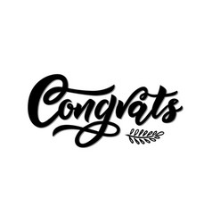 congrats modern calligraphy hand lettering black vector image