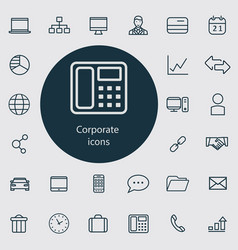 Corporate outline thin flat digital icon set vector