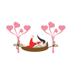 couple romantic relaxing hammock image vector image