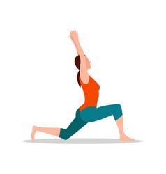Crescenet lunge pose of yoga vector