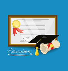 Cute diploma of graduation to education study vector