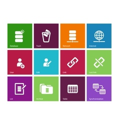 Database icons on color background vector