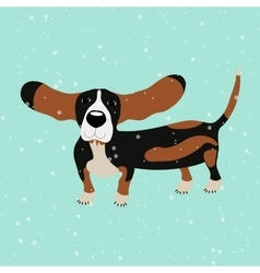 Dog basset hound under falling snow on the blue vector