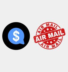 dollar message balloon icon and distress vector image