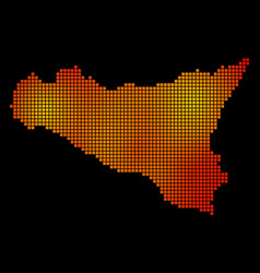 dotted orange sicilia map vector image
