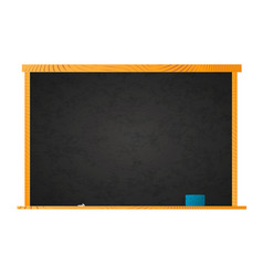 Empty school blackboard in wooden frame with chalk vector