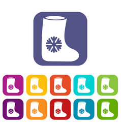 Felt boots icons set vector