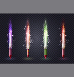 fireworks realistic colored set vector image