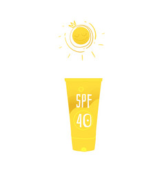 Flat beach suntan uv cream yellow bottle vector