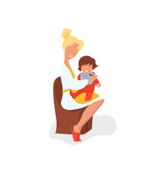 flat mother feeding baby vector image