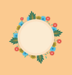 flower spring of wreath frame vector image