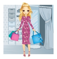 Girl Standing Near Fitting Room vector image