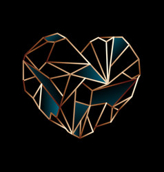 glowing golden wire heart on black background vector image