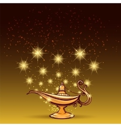 Gold glitters and aladdin lamp vector image