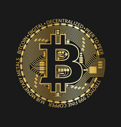 Golden bitcoin coin crypto currency golden vector