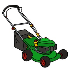 Green garden lawn mower vector