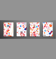 Hand drawn collection of card made by acrylic vector