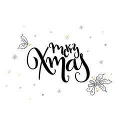 hand lettering christmas greetings text vector image