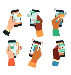 hands holding smartphones social networking vector image