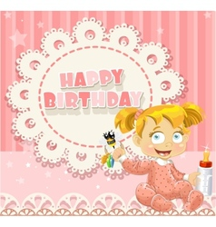 Happy Birthday my little princess - baby girl vector