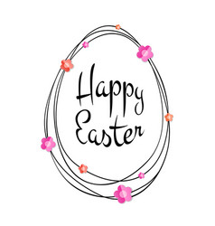 happy easter lettering scribble egg and flowers vector image