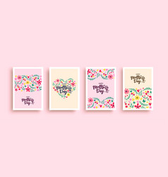 happy mothers day pink flower heart card set vector image