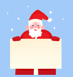 happy santa claus holding blank signboard smiling vector image