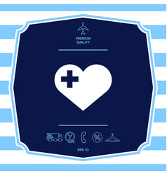 Heart with medical cross graphic elements vector