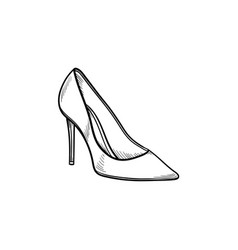 high heel shoe hand drawn outline doodle icon vector image