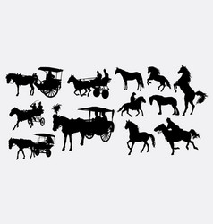 horse transportation silbhouette vector image