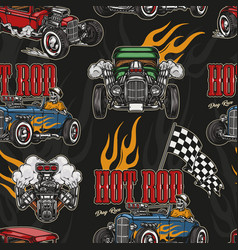 Hot rod colorful seamless pattern vector