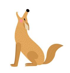 Howling coyote animal cartoon character vector